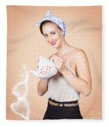 Good Looking Female Pouring Hot Coffee Love Fleece Blanket