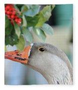 Goose Eating Berries Fleece Blanket