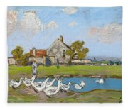 Goose Girl At Sablons Fleece Blanket