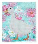 Goose On Floral Background Fleece Blanket