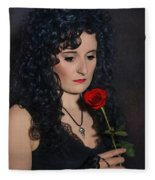 Gothic Woman With Rose Fleece Blanket