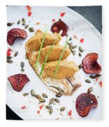 Gourmet Fish Fillet With Chickpea Curry Puree Meal Fleece Blanket