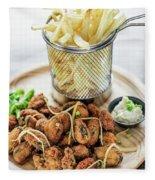 Gourmet Fried Octopus Calamari Style Set Meal With Fries Fleece Blanket