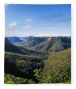 Govetts Leap Lookout Panorama, Australia Fleece Blanket
