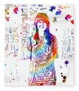Grace Slick Jefferson Airplane Paint Splatter Fleece Blanket