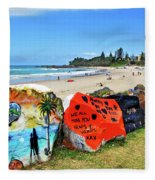 Graffiti At The Beach Fleece Blanket