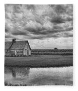 Grain Barn And Sky - Reflection Fleece Blanket