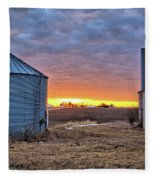Grain Bin Sunset 2 Fleece Blanket