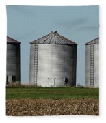 Grain Bins In A Row Fleece Blanket