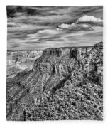 Grand Canyon In Black And White Fleece Blanket