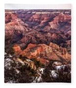 Grand Canyon Winter Sunrise Landscape At Yaki Point Fleece Blanket