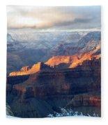 Grand Canyon With Snow Fleece Blanket