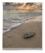 Grand Cayman Beach Coral At Sunset Fleece Blanket