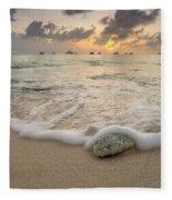 Grand Cayman Beach Coral Waves At Sunset Fleece Blanket
