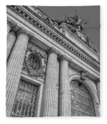 Grand Central Terminal - Chrysler Building Bw Fleece Blanket