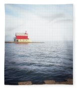 Grand Haven Lighthouse From North Pier Fleece Blanket