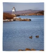 Grand Marais Breakwater Lights Fleece Blanket