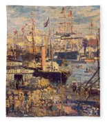 Grand Quai At Havre Fleece Blanket