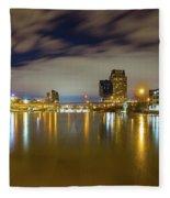 Grand Rapids At Night Fleece Blanket