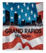 Grand Rapids Mi American Flag Squared Fleece Blanket