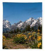 Grand Teton Arrow Leaf Balsamroot Fleece Blanket