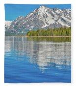 Grand Teton Mountain Reflection On Jackson Lake Fleece Blanket