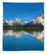 Grand Teton Reflection Wood Texture Fleece Blanket