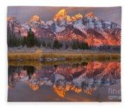 Grand Teton Snake River Sunrise Reflections Fleece Blanket
