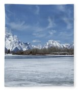 Grand Tetons And Snake River From Oxbow Bend Fleece Blanket