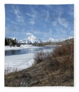 Grand Tetons From Oxbow Bend At A Distance Fleece Blanket