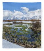 Grand Tetons From Willow Flats In Early April Fleece Blanket