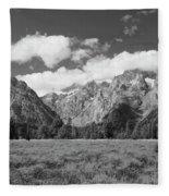Grand Tetons In Black And White Fleece Blanket