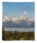 Grand Tetons Over Jackson Lake Panorama Fleece Blanket