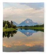 Grand Teton's Reflection Fleece Blanket