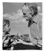Grandfather And Boy With Model Plane Fleece Blanket