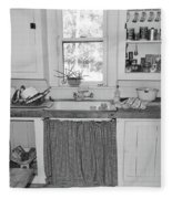 Grandma's Kitchen B W Fleece Blanket