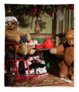 Grandpa And Grandma Teddy Bears' Christmas Eve Fleece Blanket