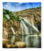 Granite Mountain Waterfall - Vintage Version Fleece Blanket