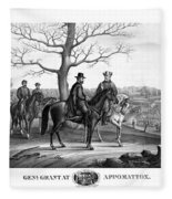 Grant And Lee At Appomattox Fleece Blanket