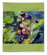 Grape Vine Still Life Fleece Blanket