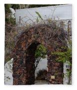 Grapevine Covered Stone Garden Door Fleece Blanket