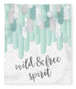 Graphic Art Feathers Wild And Free Spirit - Mint Fleece Blanket