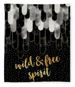 Graphic Art Feathers Wild And Free Spirit - Sparkling Metals Fleece Blanket