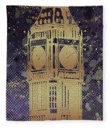 Graphic Art London Big Ben - Ultraviolet And Golden Fleece Blanket