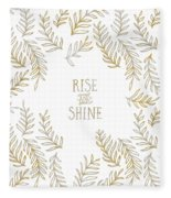 Graphic Art Rise And Shine - Gold And Marble Fleece Blanket