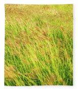 Grass Field Landscape Illuminated By Sunset Fleece Blanket