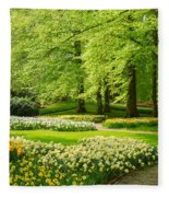 Grass Lawn With Daffodils  Fleece Blanket
