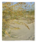 Grass On The Beach Sand Fleece Blanket
