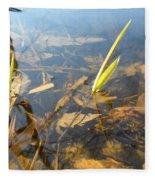 Grass Spears In Still Water Fleece Blanket