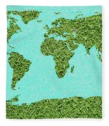 Grass World Map Fleece Blanket